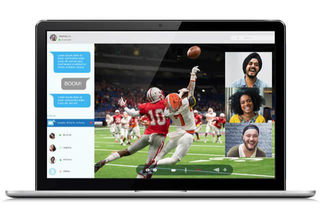 Computer screen with live football broadcast, as well as interactive real-time chat and video between viewers