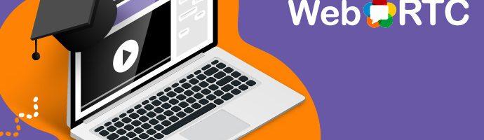 WebRTC logo and laptop with graduation cap