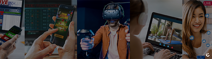 A multi-panel image with different low-latency streaming scenarios, including online betting, virtual reality gaming, interactive fitness, and user-generated content.