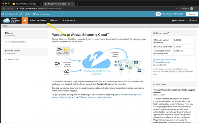 Screenshot: Wowza Streaming Cloud Portal