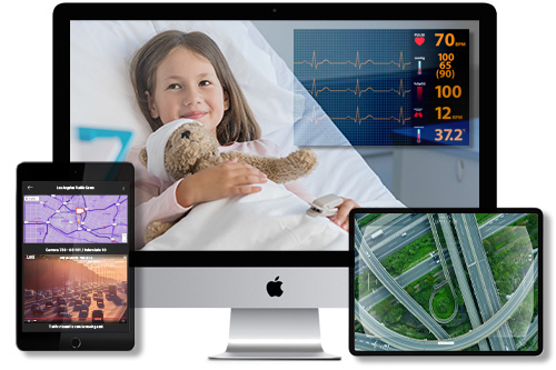 Real-time monitoring of patient health data, traffic patterns, and aerial footage.