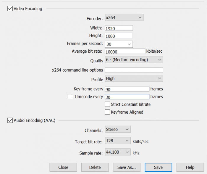 Figure 3.  An encoding preset from Wirecast.