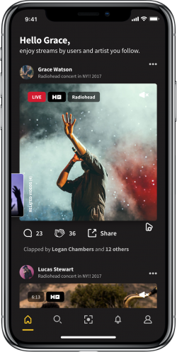 Flits Live Music Streaming Home Screen