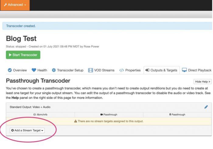 Screenshot showing how to add a stream target in Wowza Streaming Cloud.