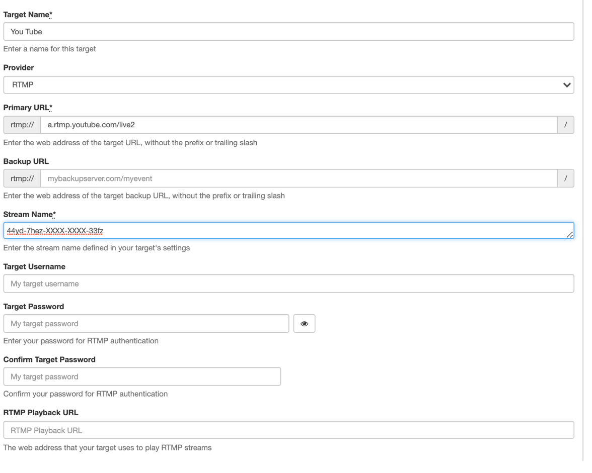 Screenshot showing how to set YouTube Live as a stream target in Wowza Streaming Cloud.