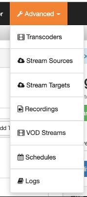Screenshot of the advanced dropdown menu in Wowza Streaming Cloud.
