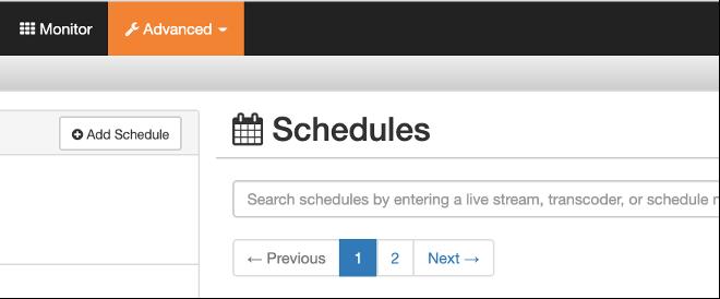 Add Schedule button in Wowza Streaming Cloud.