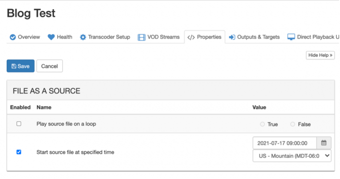 Another screenshot showing how to create the schedule for the source file to begin streaming in Wowza Streaming Cloud.