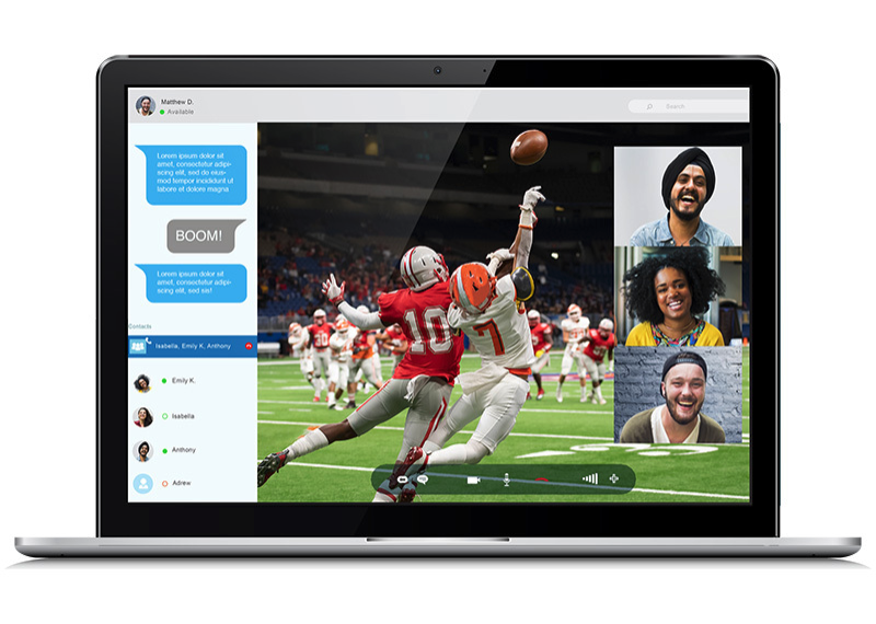 Laptop monitor with a watch party overlay for a live football game, allowing a small group of viewers to react via live video and text chat.