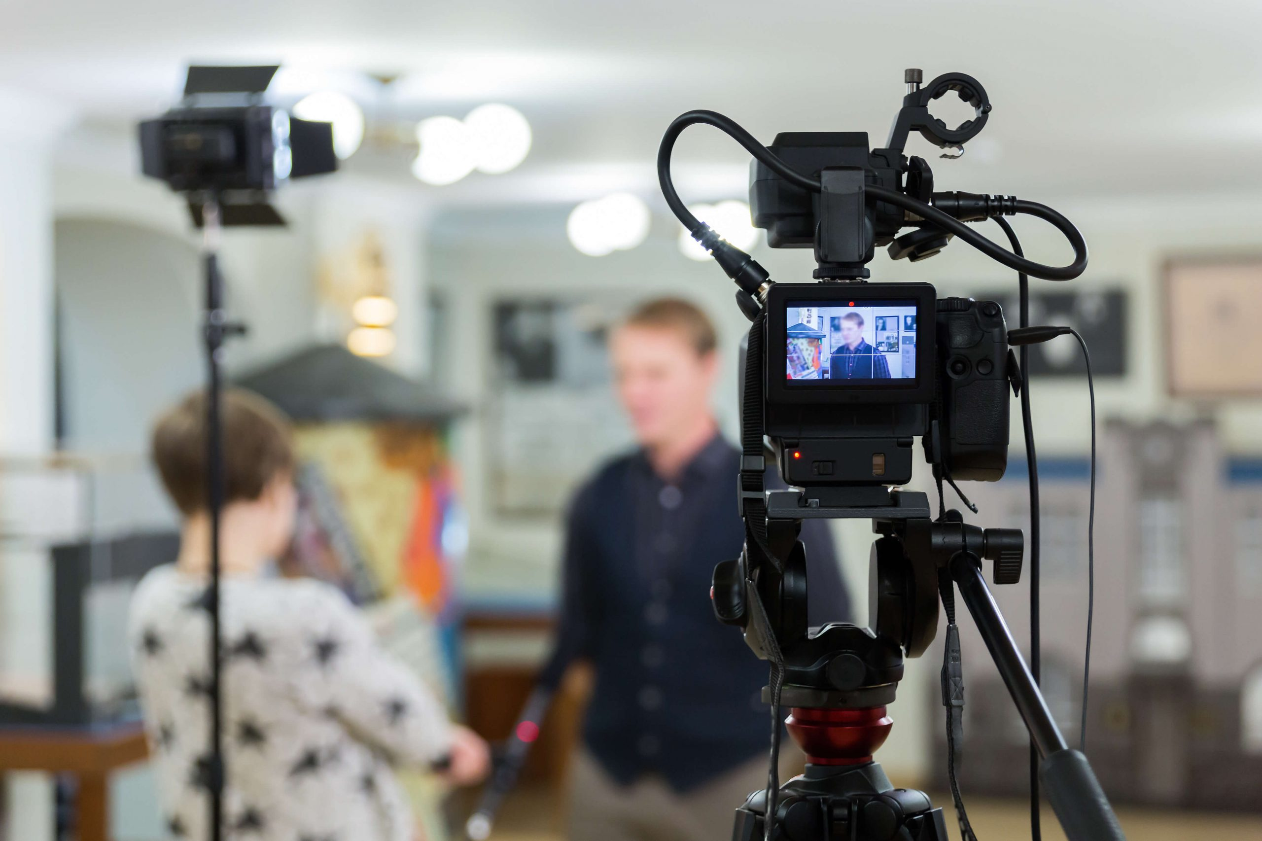 Video of interview with studio equipment